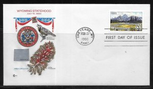 United States 2444 Wyoming Statehood Cachet Craft First Day Cover FDC (z9)