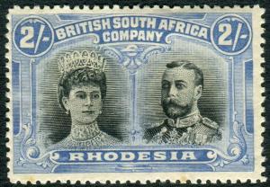 RHODESIA-1910-13 2/- Black & Ultramarine.  A lightly mounted mint example Sg 153