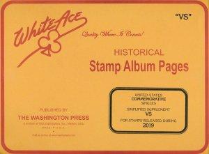 WHITE ACE 2019 US Commemorative Singles Simplified Stamp Album Supplement VS