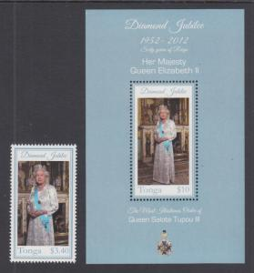 Tonga Sc 1171-1172 MNH. 2012 60th Anniversary of Reign of Queen Elizabeth II, VF