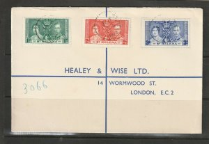 St Helena 1937 Coronation, Healey & wise cover ( Not First day )