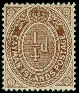 CAYMAN ISLANDS SG38a, 1/4d grey-brown, M MINT.