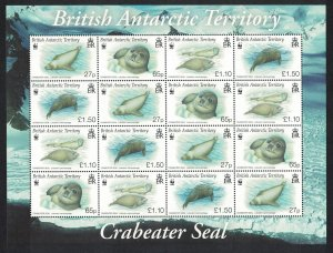 BAT WWF Crabeater Seal Sheetlet of 4 sets SG#506-509 MI#505-508 SC#505-508