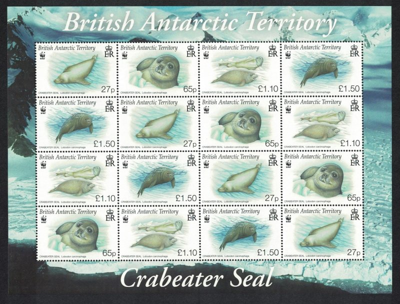 BAT WWF Crabeater Seal Sheetlet of 4 sets SG#506-509 MI#505-508 SC#505-508