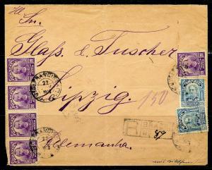 BRAZIL RIO GRANDE DO SUL 2/22/1913 R- TO LEIPZIG, GERMANY 3/25/1913 AS SHOWN