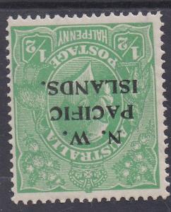 PI NEW GUINEA 1918 KGV 1/2D MNH ** LARGE MULTI WMK INVERTED