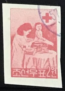 North Korea DPRK #126a CTO Imperf CV$12.00 Red Cross Doctor Baby