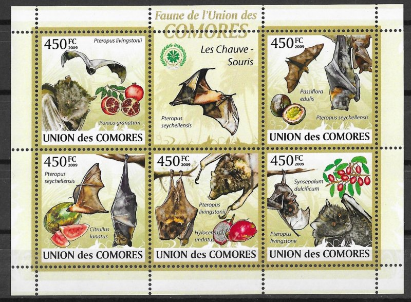 Comoro Islands MNH S/S Bats 2009 6 Stamps