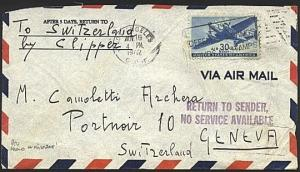USA 1942 airmail cover to Switzerland NO SERVICE AVAILABLE.................19881