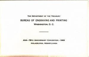{BJ Stamps} BEP B 2 Souvenir Card, ANA 1969, Jackass note, unused w/orig. env