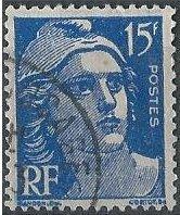 France 653 (used) 15fr Marianne, ultra (1951)