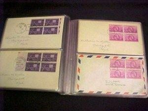 60 FDC Collection Blks/4 1940 – 1949 era Scott # 879 // 1949