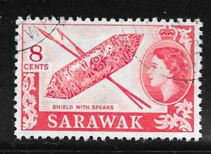 Sarawak 201: 8c Shield and spears, used, F-VF