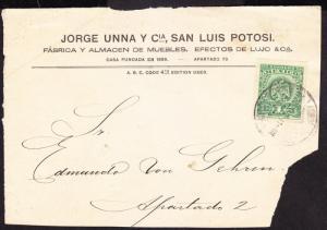 R)1914 FRONT COVER JORGE UNNA Y CIA. SAN LUIS POTOSI. - MEXI