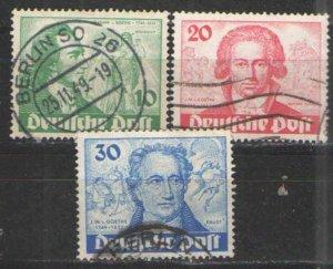 Germany - Deutsche Post 1949 Sc# 9N61-9N63 Used VG - Goethe Bicentenary issues