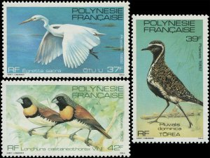 French Polynesia 1982 Sc 370-372 Bird Egret Plover Mannikin CV $4.55