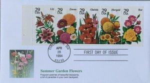 Fleetwood 2833A Summer Garden Flowers Cincinnatti, Ohio Booklet Pane of 5
