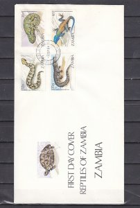 Zambia, Scott cat. 308-311. Reptiles issue. First day cover. ^