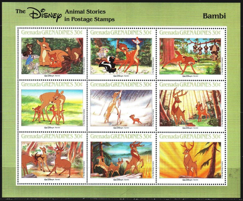 Grenada. 1988. Small sheet 991-99. Disney, cartoons. MNH.
