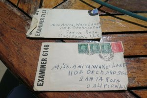 2 Censored Examiner Special Sweetheart Letters inside Scotland to USA No Rerseve