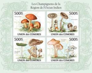 Comoros - Mushrooms - 4 Stamp  Sheet 3E-284