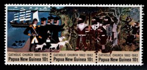 Papua New Guinea Scott 570 MNH** Catholic church strip