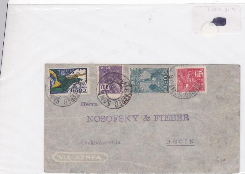 Brazil airmail  stamp cover Ref 9021
