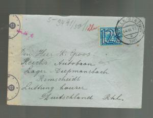 1941 Zwolle Netherlands Cover to Diepmansbach Autobahn Slave Labor Camp KZ