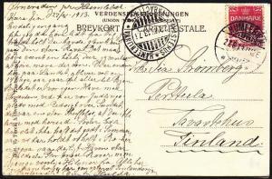 DENMARK 1913 postcard used Hunlebaek to Tavastehus Finland.................53850