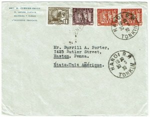 Indochina 1939 Hanoi cancel on cover to the U.S., TB seal on reverse