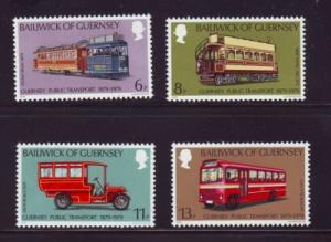 Guernsey Sc 191-4 1979 Trams Buses train stamps mint NH
