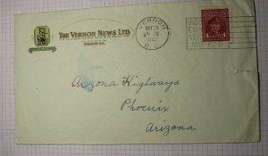 Canada Vernon News LTD 1947 Cover Slogan Cancel Industrial Expo Az Highways