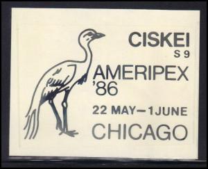 Paper Card Showing Ciskei Cancel AMERIPEX '86 BoxCV0370