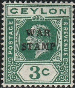 Ceylon, #MR2a  Mint Hinged From 1918
