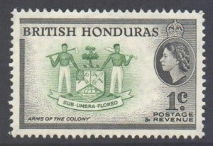 Br Honduras Scott 144 - SG179a, 1953 Elizabeth II 1c Perf 13.1/2 x 13 MNH**