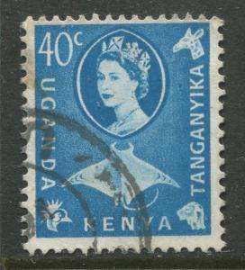 Kenya & Uganda - Scott 126 - QEII Definitive -1960 - Used - Single 40c Stamp