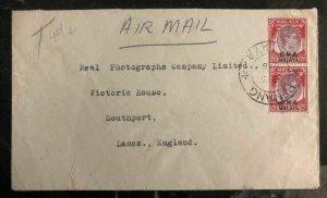 1946 Penang Malaya Airmail Cover To Southport England BMA Overprints