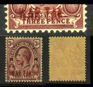 Turks & Caicos Islands 1919 KGV SG 145a double print error Cat.?350 MH SCARCE