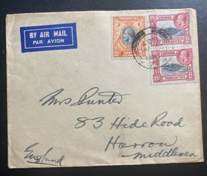 1937 Tanga Tanganyika British KUT Airmail Cover To Harrow England