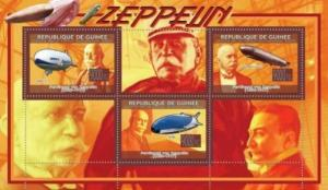 Guinea - Zeppelins on Stamps - 3 Stamp  Sheet  - 7B-968