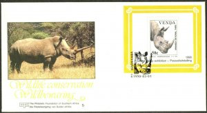 SOUTH AFRICA-VENDA Sc#208a 1990 Rhinoceros Int'l Stamp Exhibition S/S on FDC
