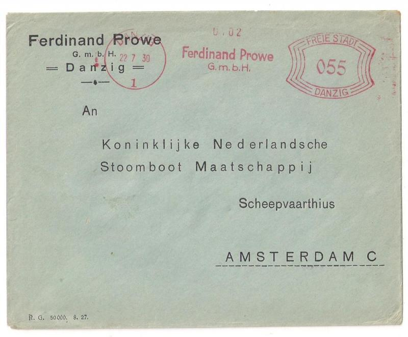 Danzig 55pf Meter Stamp Cover used to Netherlands 1930 Odd!