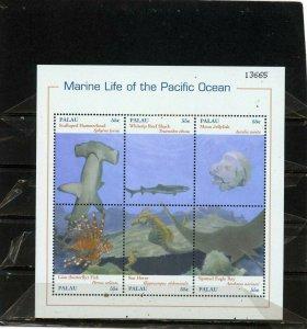 PALAU 2000 FISH & MARINE LIFE SHEET OF 6 STAMPS MNH