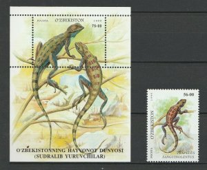 Uzbekistan 1999 Fauna, Reptiles MNH Block + stamp