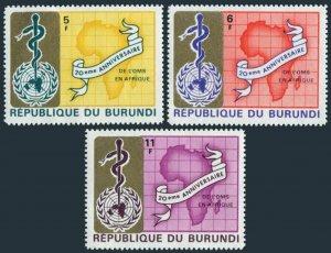 Burundi 269-271 & imperf,MNH.Mi 466-468. WHO in Africa,20th Ann.1969.Emblem,Map.