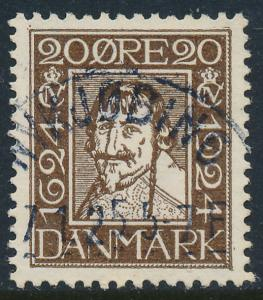 Denmark Scott 173 (AFA 141), 20ø brown Postal Anniv. VF Used