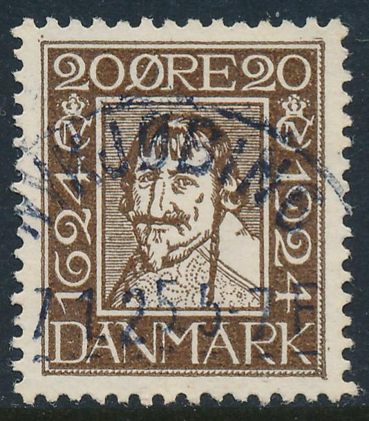 Denmark Scott 173 (AFA 141), 20ø brown Postal Anniv. VF Used