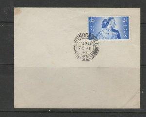 GB FDC 1948 Wedding, Plain, 2 1/2d only, Glasgow cds, Unaddressed