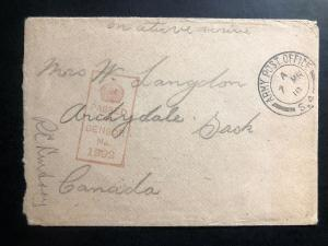 1918 Fieldpost Canada On Active Service Censored OAS WW1 Cover to Sacks