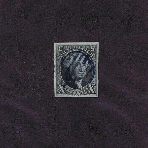 SC# 2 USED 10C WASHINGTON, 1847, BLUE GRID CCL, 2019 PSAG CERT GRADED VF XF 85